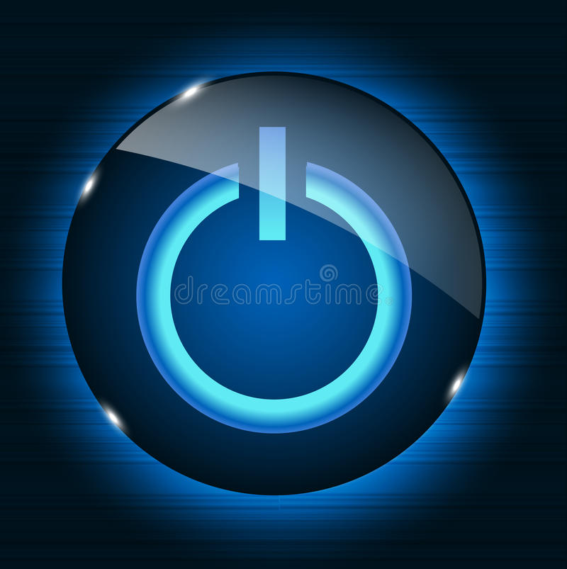 Glass power button icon on abstract background. vector illustration