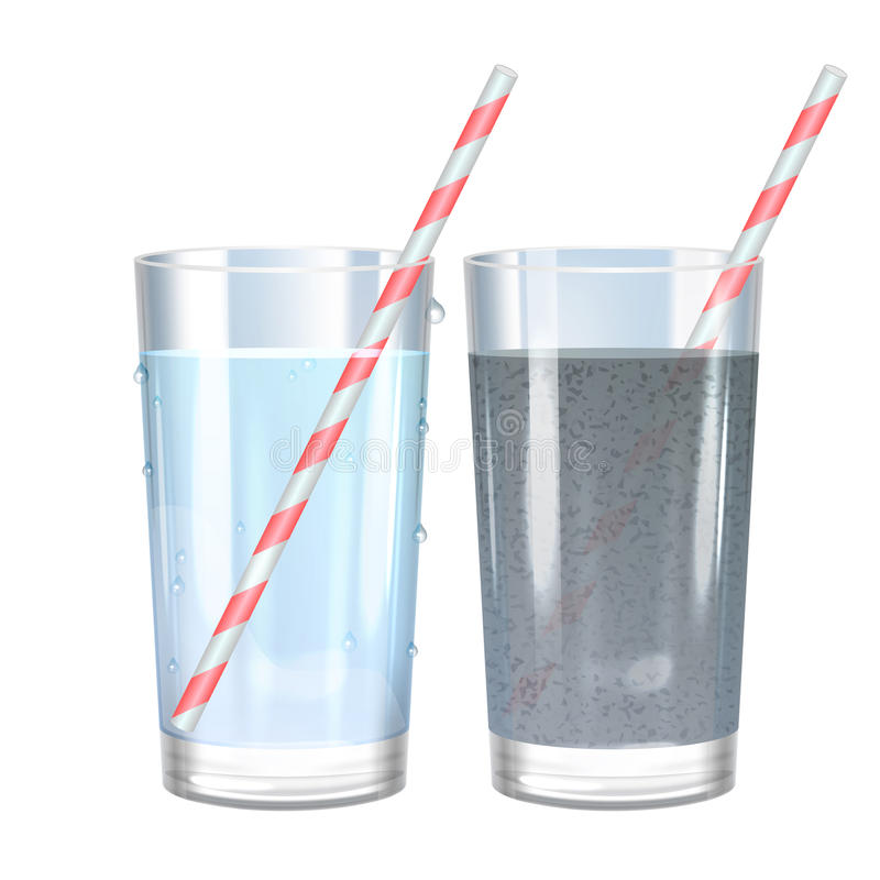 Glass of pure and dirty water. Vector illustration. royalty free illustration