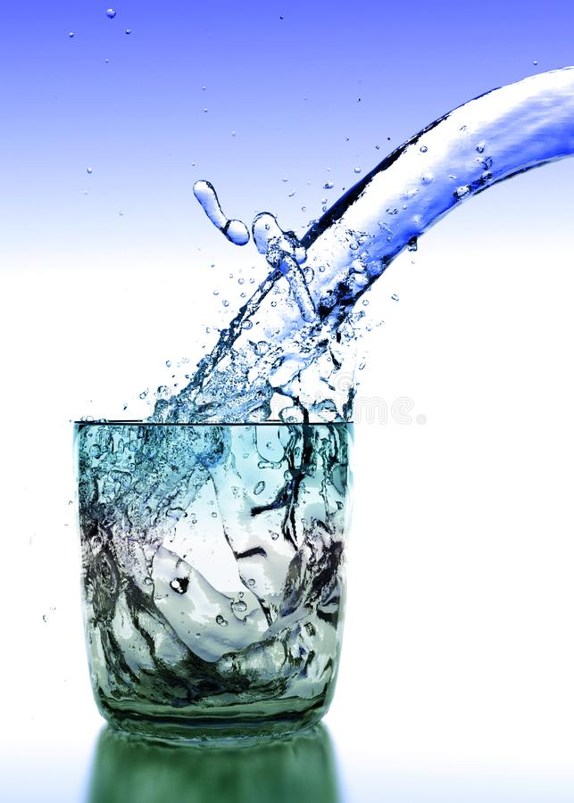 Glass of Pure Fresh Water. Clear glass of water and pure fresh water falling inside the glass royalty free illustration