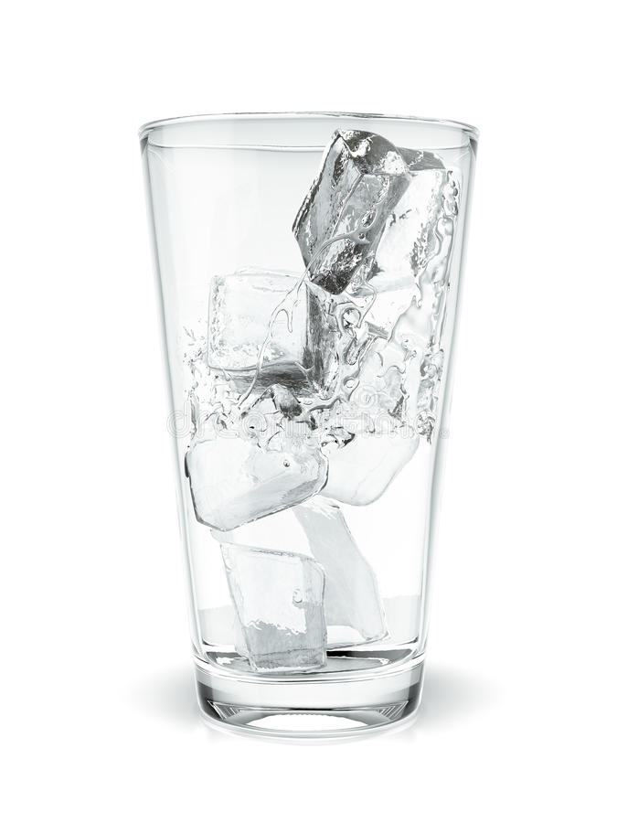 Glass Of Pure Water With Ice Cubes Stock Photo