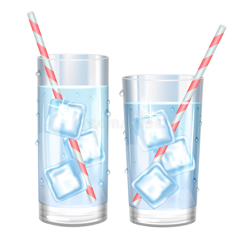 Glass of pure water and ice. Vector illustration. vector illustration