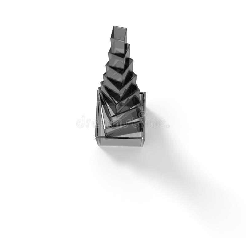 glass pyramid royaltyfri illustrationer