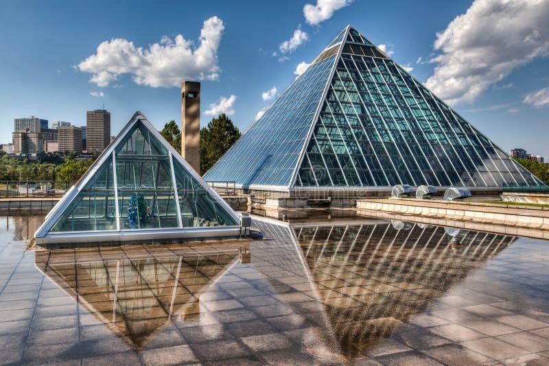 Glass Pyramids in Edmonton, Alberta, Canada. Edmonton's most iconic public structure: The Muttart Conservatory stock photo