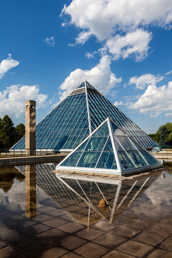 Glass Pyramids in Edmonton, Alberta, Canada. Edmonton's most iconic public structure: The Muttart Conservatory royalty free stock image