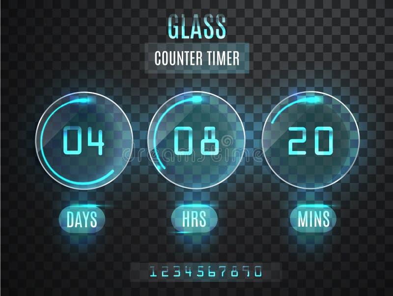 Glass räknaretidmätare Genomskinlig vektornedräkningtidmätare på genomskinlig bakgrund Neonglöd på en mörk bakgrund Countd vektor illustrationer