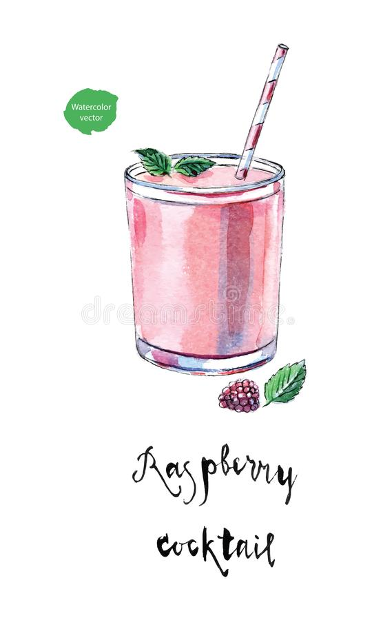 Glass of raspberry cocktail with straw, leaves of mint and fresh. Berry. Raspberry healthy smoothie drink in watercolor, hand drawn, vector illustration vector illustration