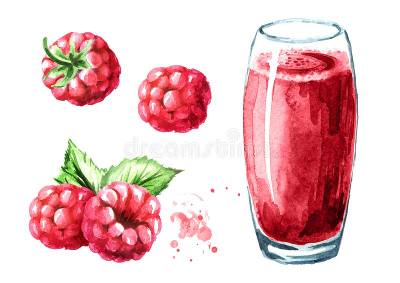 Glass of raspberry Juice and fresh ripe berries set. Watercolor hand drawn illustration, isolated on white background stock illustration