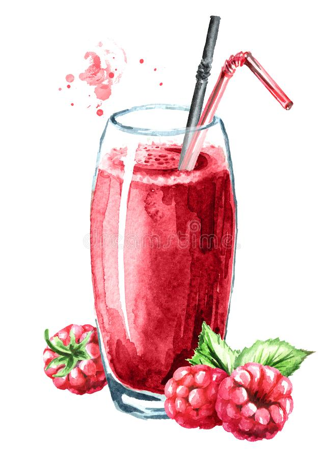 Glass of raspberry Juice and fresh ripe berries. Watercolor hand drawn illustration, isolated on white background vector illustration