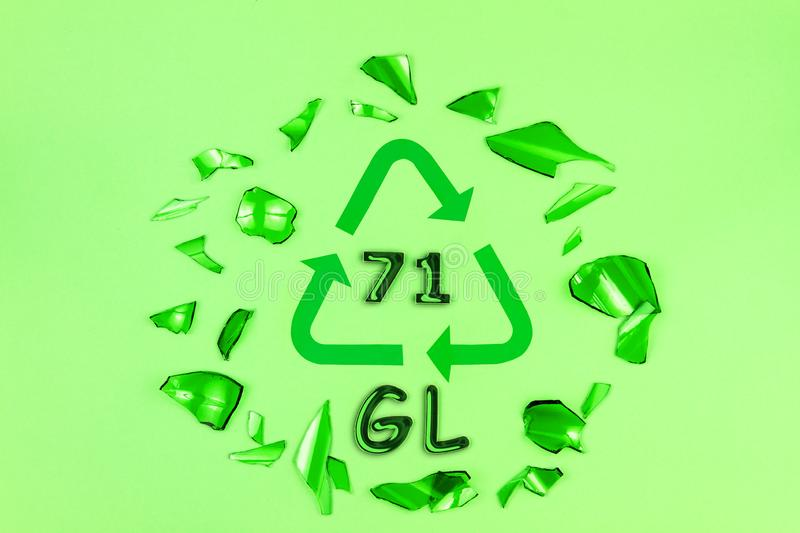 Glass recycling sign with glasses stock image