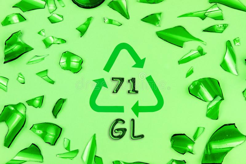 Glass recycling sign with glasses stock photos