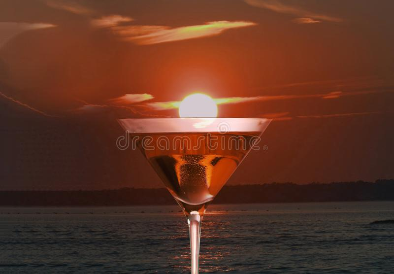 Glass of red martini. Vermouth cocktail royalty free stock photography