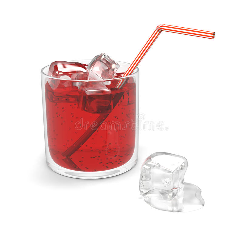 Glass of red sparkling water stock illustration
