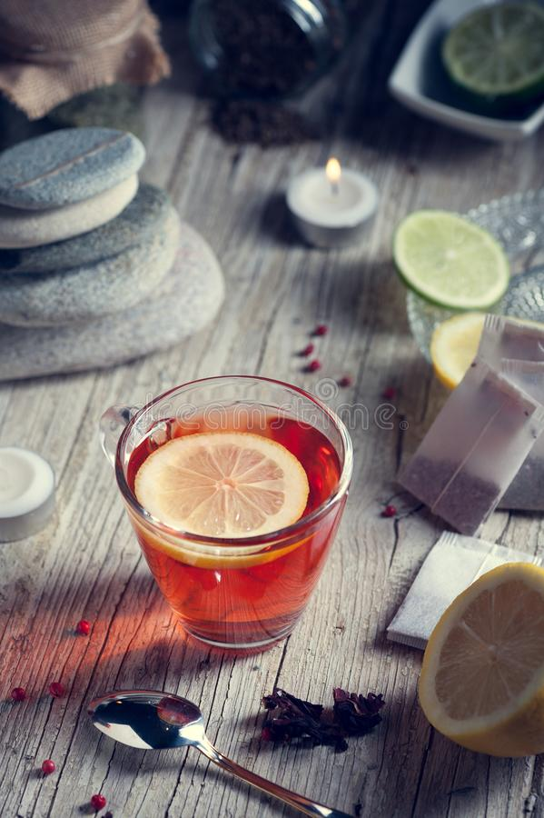 Download Glass With Red Tea On Rustic Wooden Table Stock Photo - Image of herbal, enjoy: 106052798