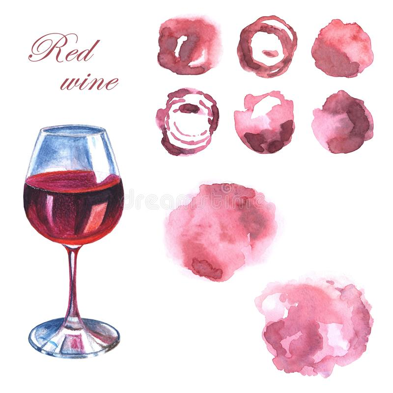 A glass of red wine and abstract hand drawn pink watercolor spots on a white background vector illustration