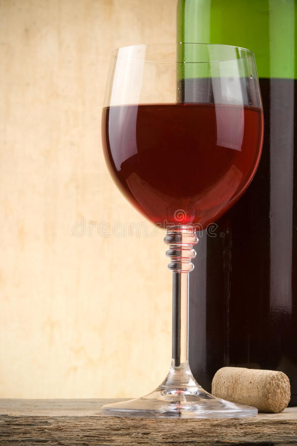 Download Glass Of Red Wine And Bottle Stock Photo - Image: 21258092