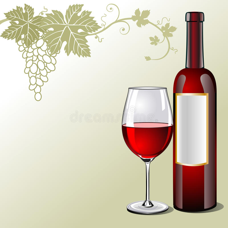 Glass of red wine with bottle and grapes stock illustration