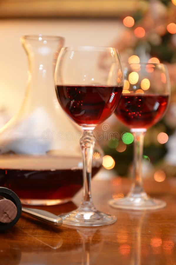 Glass red wine. Bottle drink bar party restaurant stock image