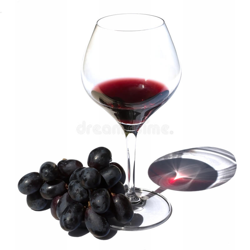 Glass of red wine and grapes in sunlight. Glass of red bordeaux wine and grapes are lit by afternoon sunlight stock photos