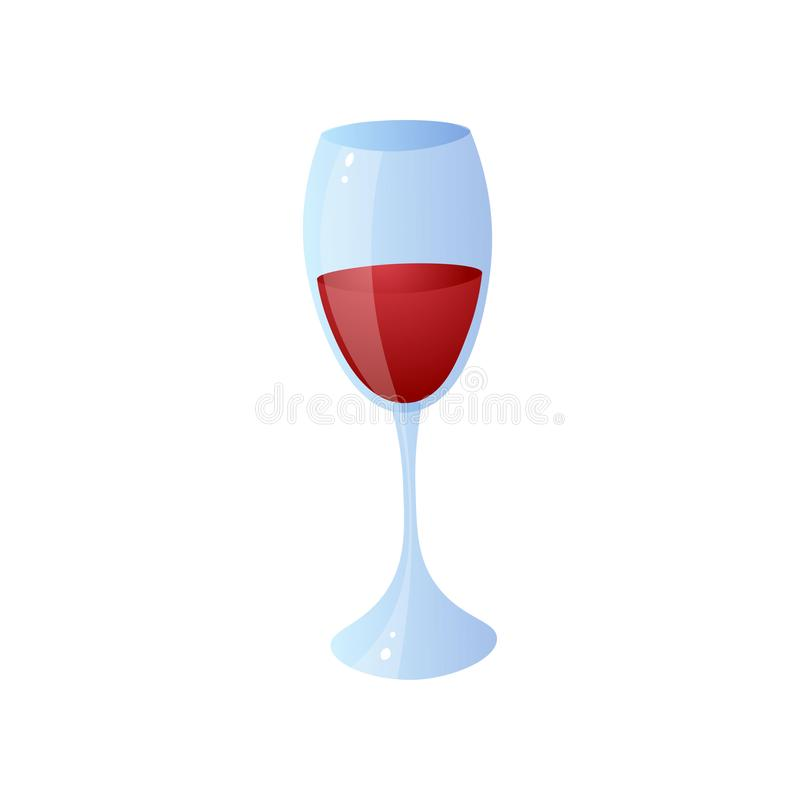 Glass of red wine for home lunch or bbq time. At sunday holiday. Cartoon style. Vector illustration on white background royalty free illustration
