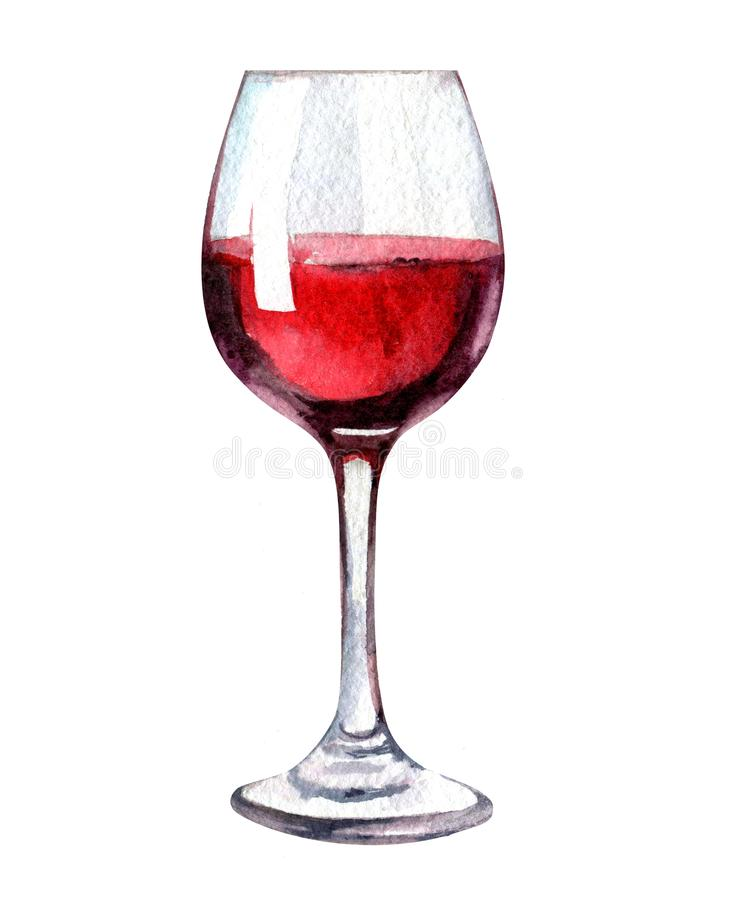 Glass of wine isolated on white background, watercolor illustration royalty free stock photography