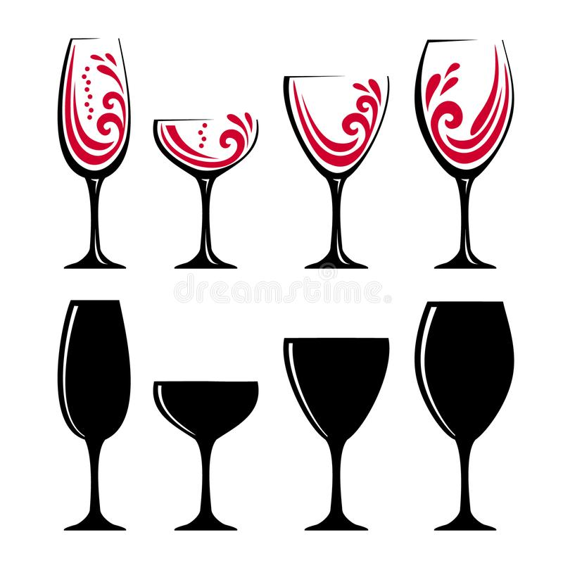 Glass of red wine or juice. Four color different glass of red wine or cherry juice. Black silhouettes of glasses. Vector illustration of glasses of water. Symbol vector illustration