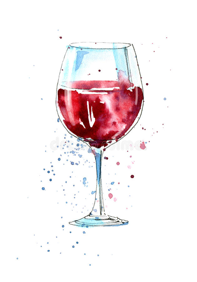 Glass of a red wine. royalty free illustration