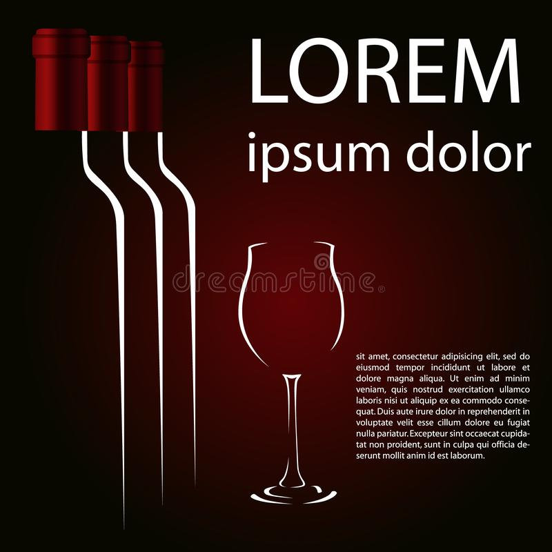 A glass of red wine and three bottles of a ruby background.  stock illustration