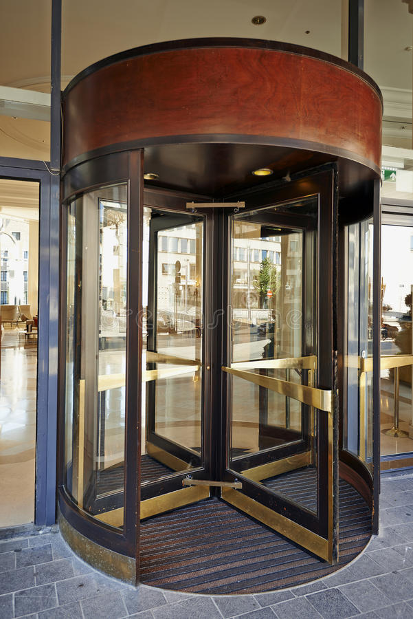 Glass Revolving Door At Hotel Hilton Grand Place Editorial