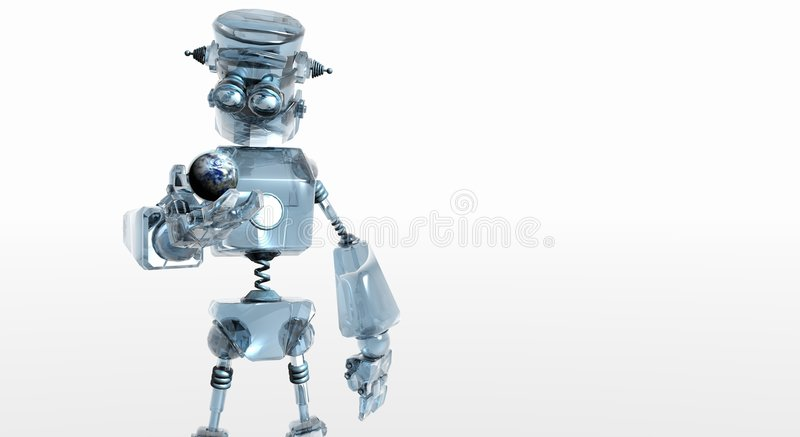 Glass robot royalty free stock photo