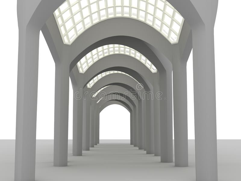 Glass roof arched gallery 3d rendering. Glass roof arched gallery perspective view 3d rendering vector illustration