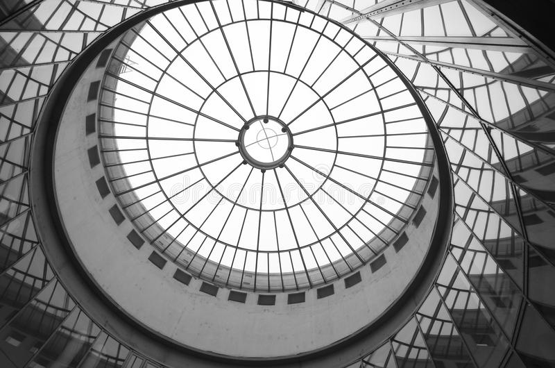 Glass roof. Of modern building in Frankfurt am Main, Germany stock photos