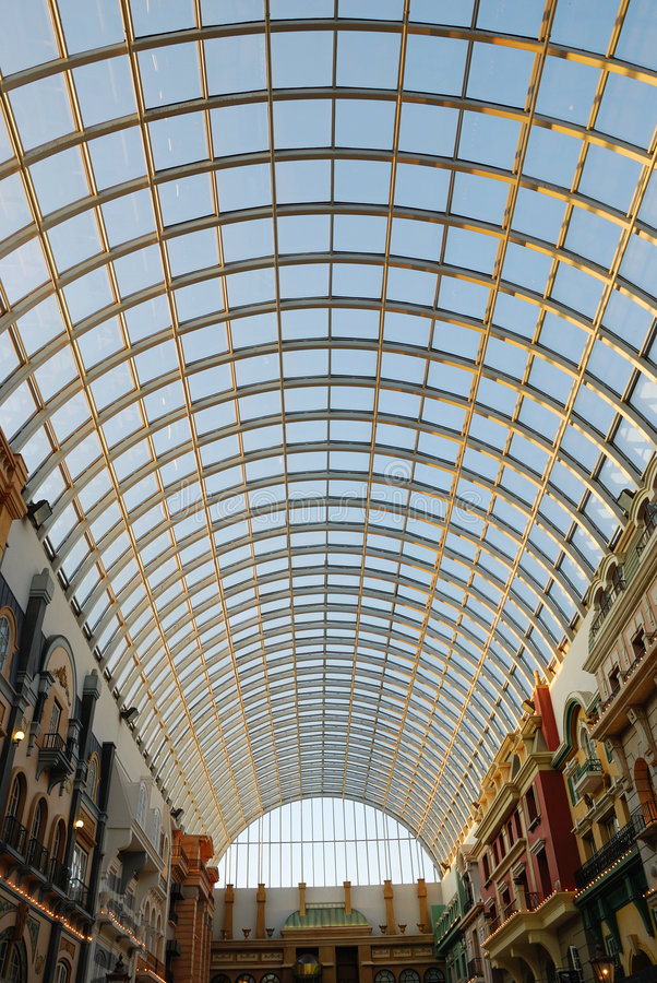 Glass roof structure in west edmonton mall royalty free stock photo