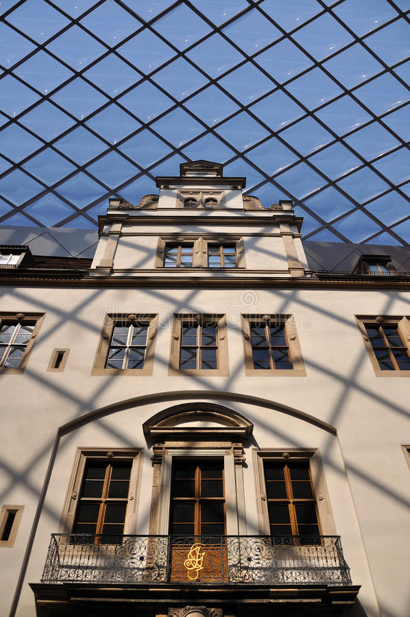 Glass roofing at dresden castle. Detail of the glass roofing of a covered court of the museum in dresden castle, freshly rebuilt after second world war damages stock image