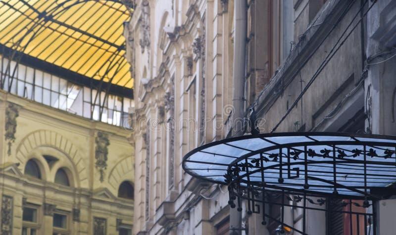 Glass roofs-Macca-Villacrosse passage-Bucharest royalty free stock photos