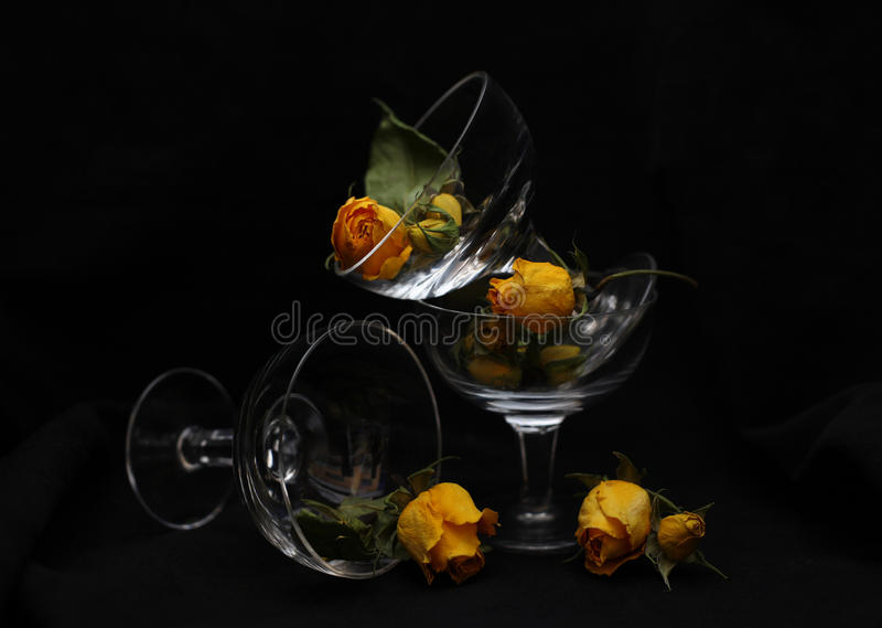 Glass And Roses Stock Photos