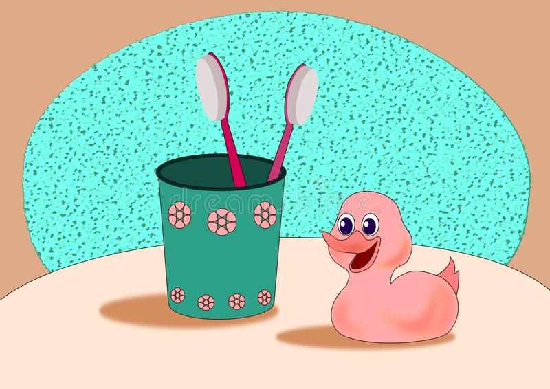 glass rubber tandborstar för and royaltyfri illustrationer