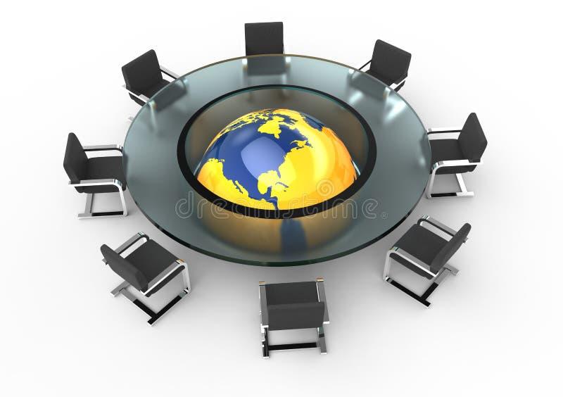 glass rund tabell för konferens royaltyfri illustrationer