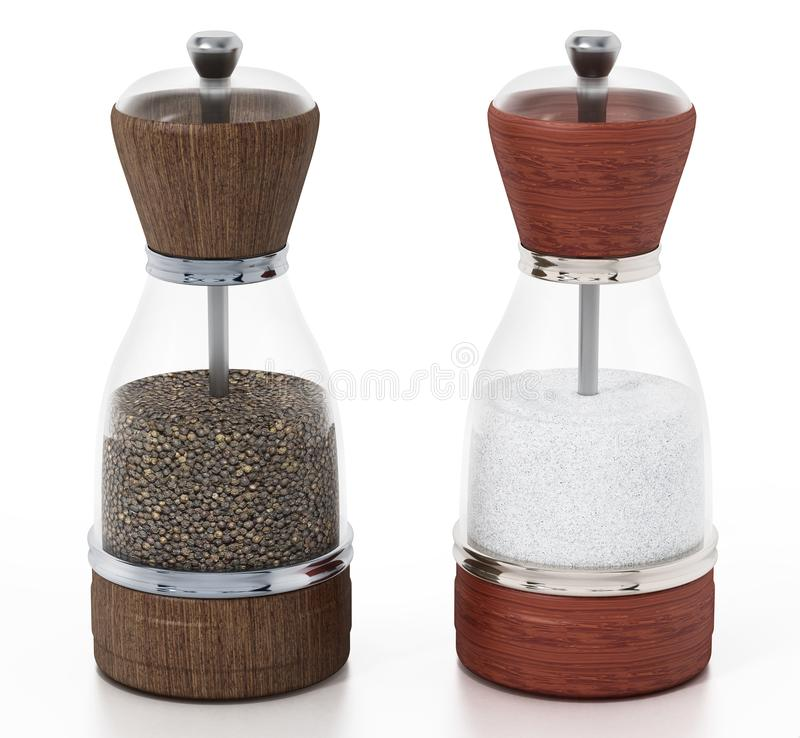 Free Glass Salt And Pepper Grinder Set Isolated On White Background. 3D Illustration Stock Photography - 133427112