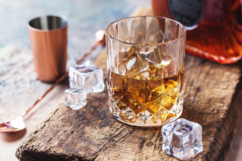 Glass of scotch whiskey stock photography