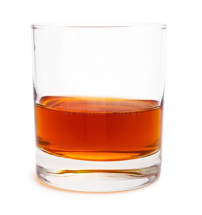 Glass of scotch whiskey isolated on white background stock photos