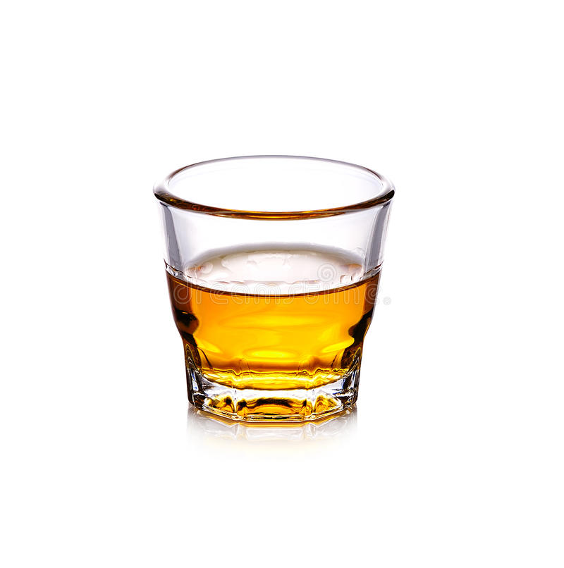 Glass of scotch whiskey on white background stock photo