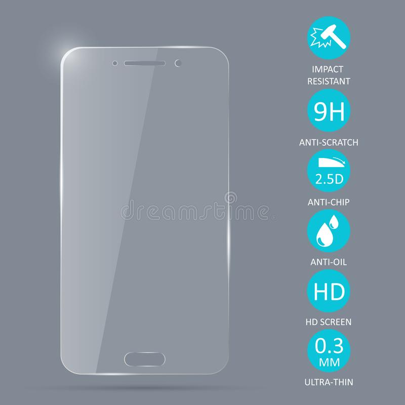 Glass screen protector for smartphone. royalty free illustration