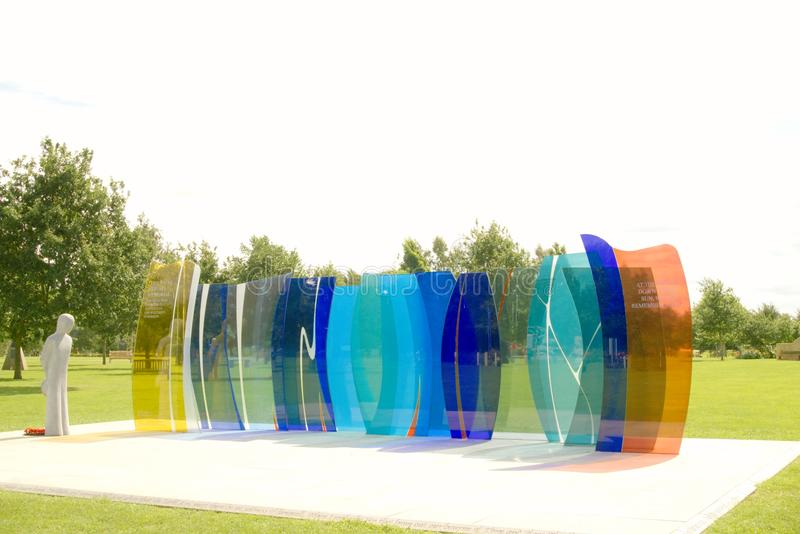 Naval Service memorial. The glass sculpture at Alrewas, Staffordshire UK, was commissioned by the Royal Naval Association The memorial is made up of 13 glass royalty free stock photography