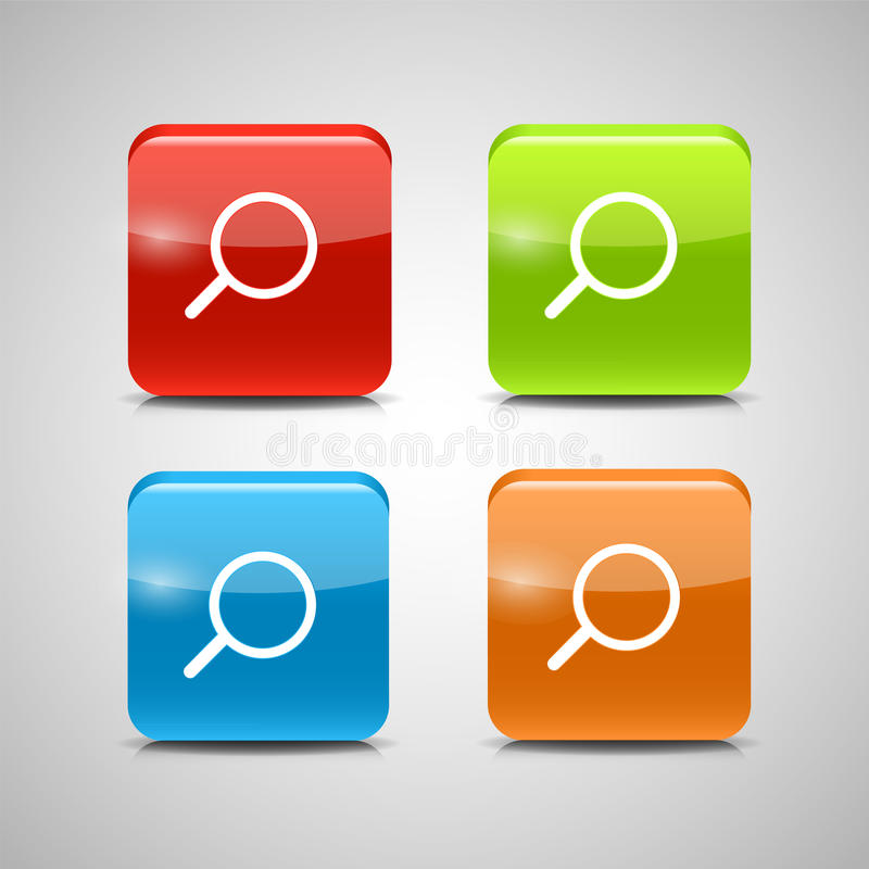 Glass Search Button Icon Set Vector Illustration royalty free illustration