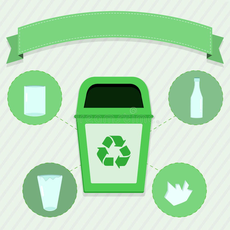 Glass selective collection. Green trash for the selective collection of glass royalty free illustration