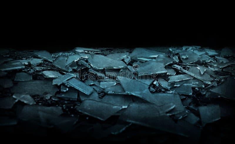 Glass shards black background isolate stock image