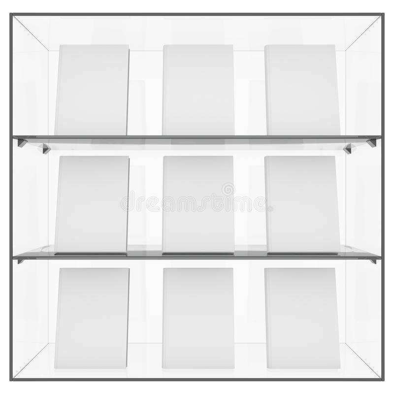 The glass shelf with books vector illustration
