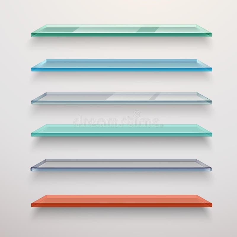 glass shelves set stock vector illustration of glossy 52406699 rh dreamstime com Glass Wall Floating Shelves Glass Wall Floating Shelves
