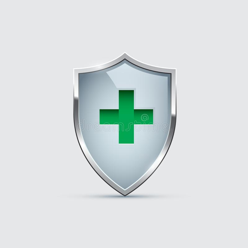 Glass Shield with silver frame and Green Cross isolated on gray. Vector Health Protection icon. stock illustration