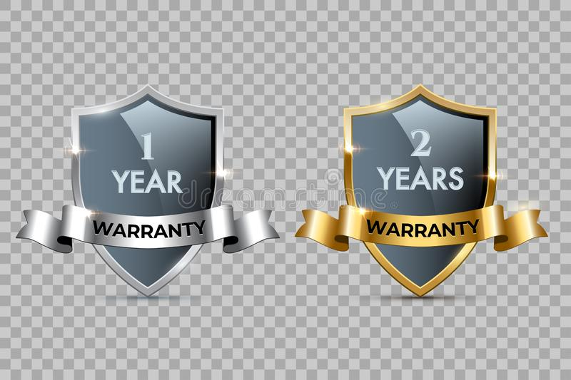Glass shields with golden and silver frames and ribbons with One year warranty and Two years warranty texts. Vector royalty free illustration